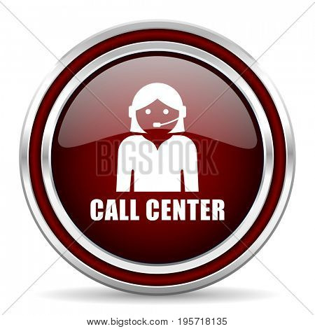 Call center red glossy icon. Chrome border round web button. Silver metallic pushbutton.