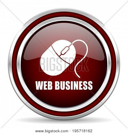 Web business red glossy icon. Chrome border round web button. Silver metallic pushbutton.
