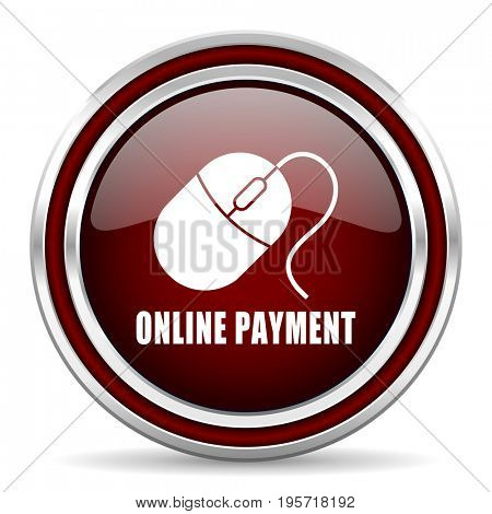 Online payment red glossy icon. Chrome border round web button. Silver metallic pushbutton.