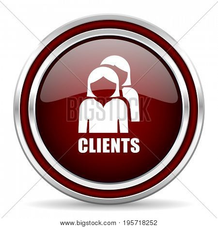 Clients red glossy icon. Chrome border round web button. Silver metallic pushbutton.