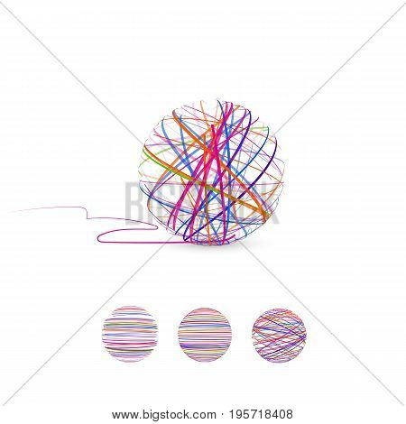 Tangle vector illustration. Ball of thread for knitting