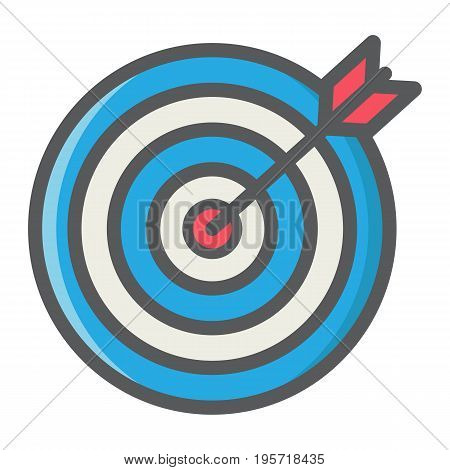 Target colorful line icon, business and dartboard, vector graphics, a filled linear pattern on a white background, eps 10.