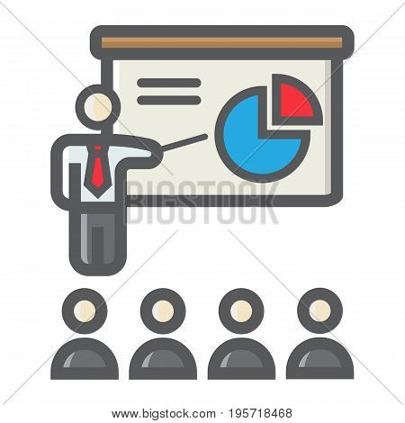 Training presentation colorful line icon, business and teacher, vector graphics, a filled pattern on a white background, eps 10.