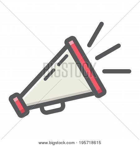 Promotion colorful line icon, business and loudspeaker, vector graphics, a filled pattern on a white background, eps 10.