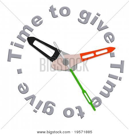 Time to give charity giving financial support and helping the poor fundraising by volenteers isolated clock indicating moent to be generous and donate donation to a foundation fund raising time
