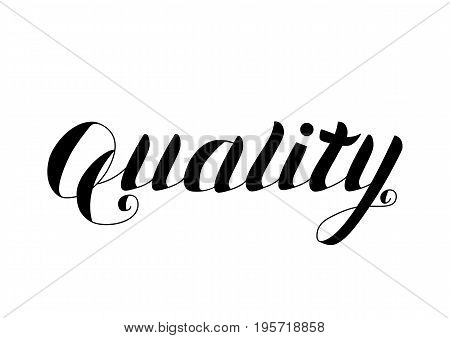 Quality - Hand Drawn Lettering Isolated on White Background. Freehand Black Logo Vector Illustration for Web Graphic Design or Print, Logotype, Brand, Symbol.