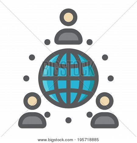 Global partnership colorful line icon, business and international, vector graphics, a filled pattern on a white background, eps 10.