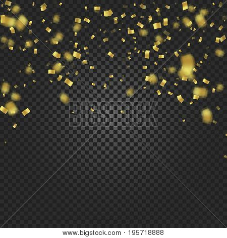 Gold confetti falling and ribbons on black transparent background vector illustration. Party, festival, fiesta design decor poster element