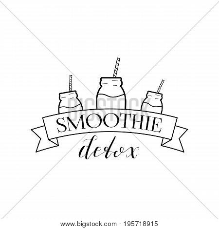 Smoothie Detox Logo Isolated on White Background. Black Badge with Hand Drawn Lettering, Ribbon and Jar. Vector Illustration for Web Design or Print.
