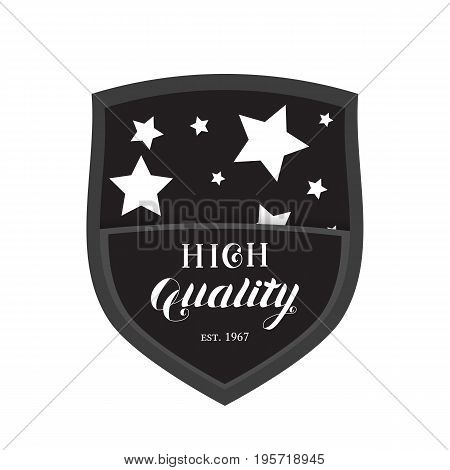 High Quality Shield Emblem Logo Isolated on White Background. Badge with Hand Drawn Lettering. Vector Illustration for Web Design or Print.