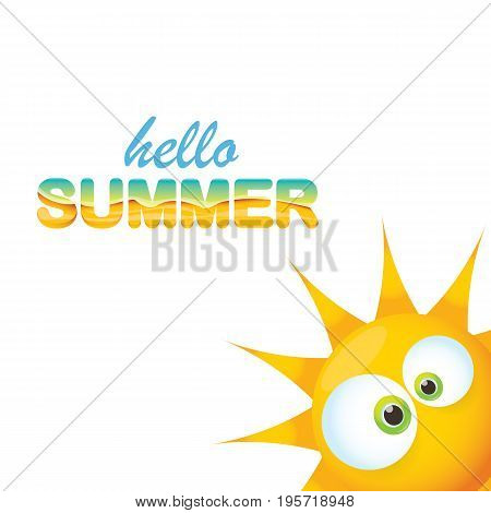 vector hello summer creative label with smiling shiny sun and sunglasses isolated on white. summer party background with funky sun character design template. vector summer icon