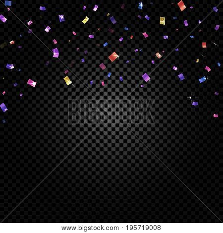Colorful confetti falling and ribbons on black transparent background vector illustration. Party, festival, fiesta design decor poster element