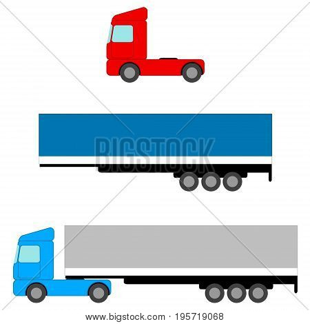 Truck. Flat image Tow Tractors and awning van. Isolated objects. Vector illustration