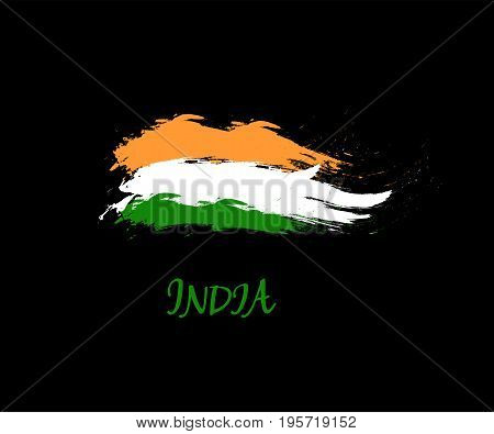Independence day of India hand drawn sign on black background. Indian national three color flag symbol vector illustration. August 15 holiday banner