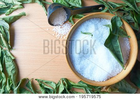 Wooden Bowl Of Sea Salt