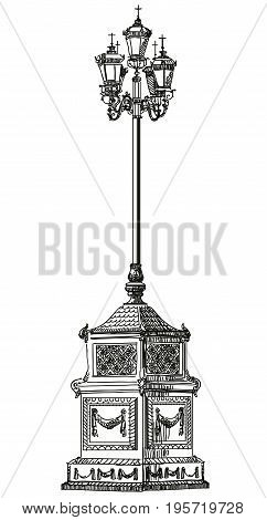 Ancient lantern near Cathedral of Christ the Savior in Moscow vector isolated hand drawing illustration