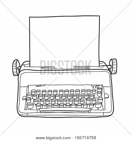 vintage typewriter working condition hand drawn vector line art illustration