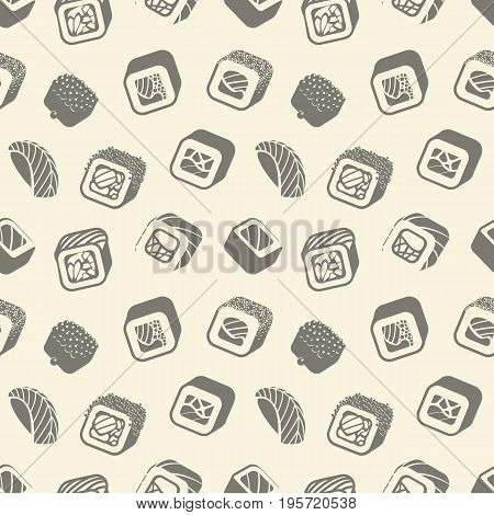 Sushi and rolls vintage seamless pattern on a wrapping paper, Japanese food vector monochrome backround illustration