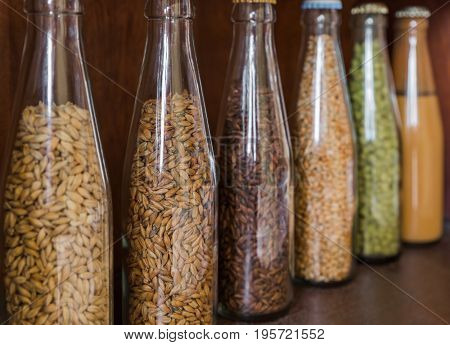 Beer ingredients in bottles - brewery in Belgium