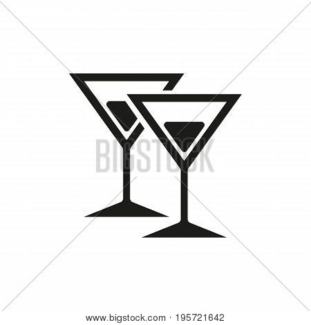 Simple icon of martini glasses with cocktails. Martini, alcohol drinks, bar. Party concept. Can be used for topics like drinks, celebration, nightclub