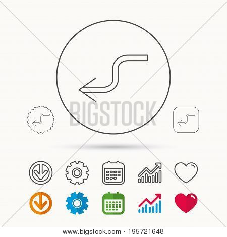 Arrow back icon. Previous sign. Left direction symbol. Calendar, Graph chart and Cogwheel signs. Download and Heart love linear web icons. Vector
