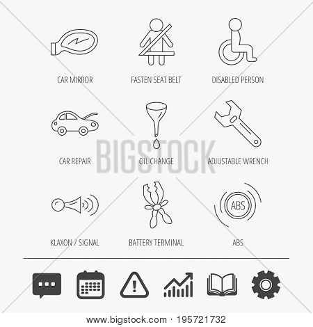 Car mirror repair, oil change and wrench tool icons. ABS, klaxon signal and fasten seat belt linear signs. Disabled person icons. Education book, Graph chart and Chat signs. Vector