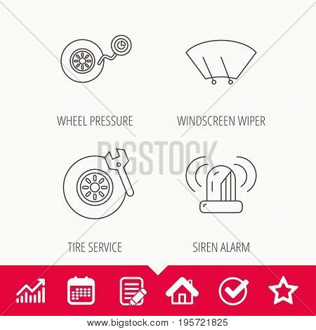 Wheel pressure, tire service and siren alarm icons. Car repair service station linear sign. Edit document, Calendar and Graph chart signs. Star, Check and House web icons. Vector
