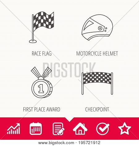 Race flag, checkpoint and motorcycle helmet icons. Winner award medal linear signs. Edit document, Calendar and Graph chart signs. Star, Check and House web icons. Vector