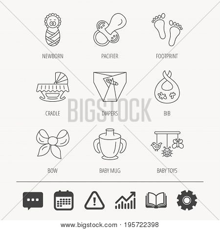 Pacifier, newborn and baby toys icons. Footprint, diapers and cradle bed linear signs. Mug, dirty bib flat line icons. Education book, Graph chart and Chat signs. Vector