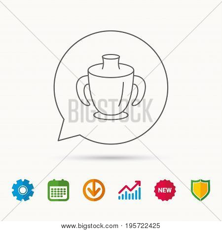 Toddler spout cup icon. Baby mug sign. Flip top feeding bottle symbol. Calendar, Graph chart and Cogwheel signs. Download and Shield web icons. Vector