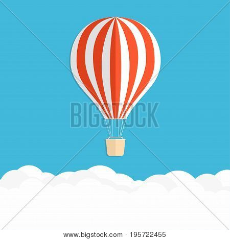Hot Air Balloon In The Sky. Red Striped Air Balloon Above Clouds