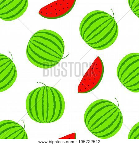 Summer positive vector seamless background with big watermelon. Visual vitamins pattern. Green and red watermelon slice illustration. White texture with fresh melon berry