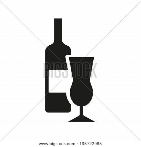 Simple icon of wine bottle with glass. Alcohol drinks, alcoholic beverage store, wine menu. Party concept. Can be used for topics like drinks, celebration, restaurant