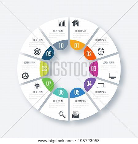 Infographics template 10 options with circles. Can be used for workflow layout, diagram, number options, step up options, web design, presentations