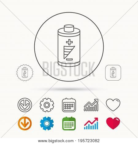 Battery icon. Electrical power sign. Rechargeable energy symbol. Calendar, Graph chart and Cogwheel signs. Download and Heart love linear web icons. Vector