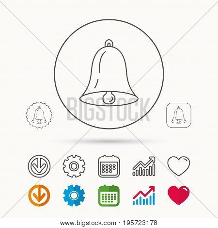 Bell icon. Sound sign. Alarm handbell symbol. Calendar, Graph chart and Cogwheel signs. Download and Heart love linear web icons. Vector
