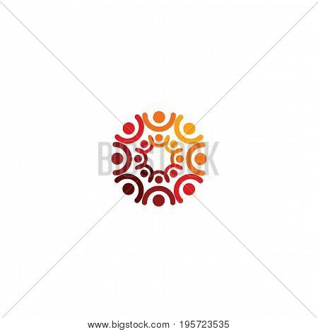Abstract vector logo depicting the stylized people, who hold hands and are united in a union, human help and cohesion poster