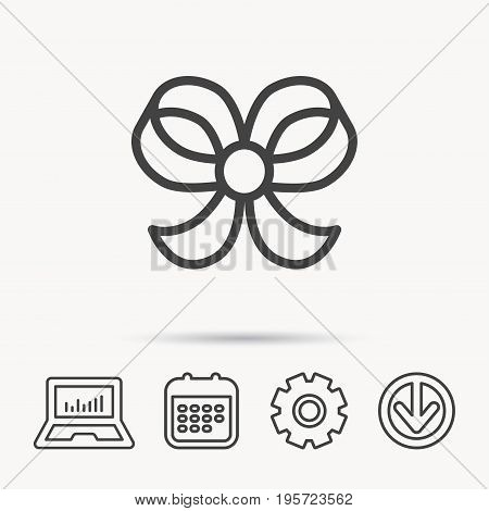 Bow icon. Gift bow-knot sign. Notebook, Calendar and Cogwheel signs. Download arrow web icon. Vector