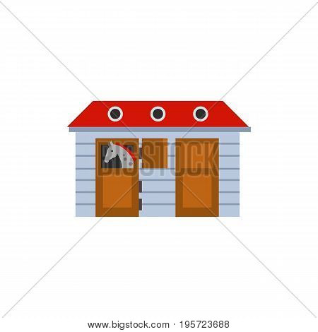 Icon of horse stable. Barn, livestock, animal. Horse riding concept. Can be used for topics like zoo, farm.