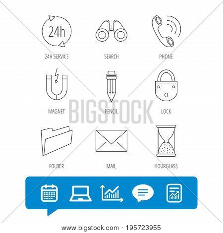 Phone call, pencil and mail icons. Search, 24h support and folder linear signs. Hourglass, magnet energy flat line icons. Report file, Graph chart and Chat speech bubble signs. Vector