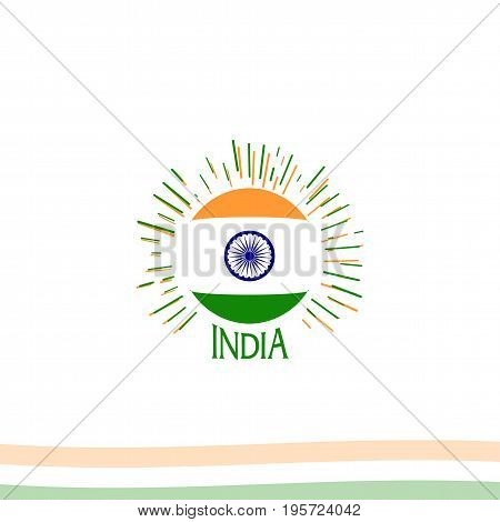 Independence day of India from the British Empire isolate sign of vector retro style logotype. Universal of Logo for Public Holidays in the Indian Republic
