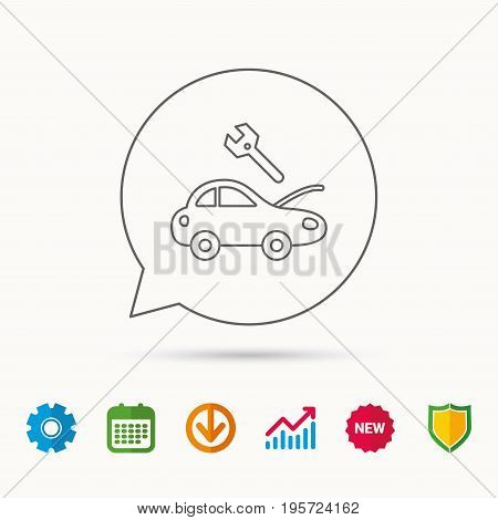 Car service icon. Transport repair with wrench key sign. Calendar, Graph chart and Cogwheel signs. Download and Shield web icons. Vector