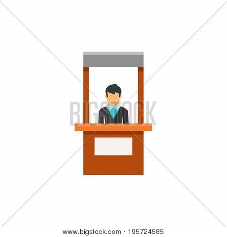 Icon of promo stand. Reception, stall, market. Advertisement concept. Can be used for topics like business, exhibition, promotion