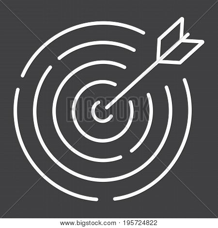 Target line icon, business and dartboard, vector graphics, a linear pattern on a black background, eps 10.