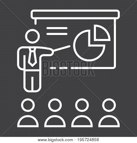 Training presentation line icon, business and teacher, vector graphics, a linear pattern on a black background, eps 10.