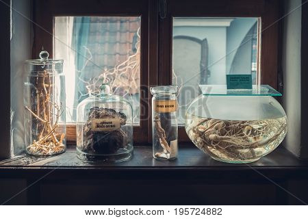 Kaunas Lithuania - May 12 2017: retro drugs substance and infusion on windowsill in Museum of the History of Medicine and Pharmacy. Kaunas Lithuania.