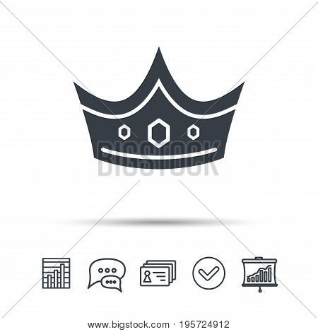 Crown icon. Royal throne leader symbol. Chat speech bubble, chart and presentation signs. Contacts and tick web icons. Vector