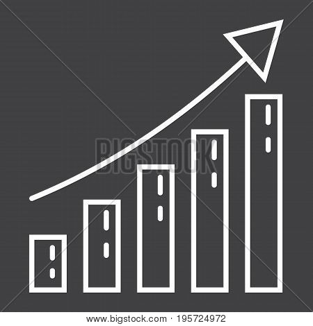 Business growth line icon, business and financial, vector graphics, a linear pattern on a black background, eps 10.