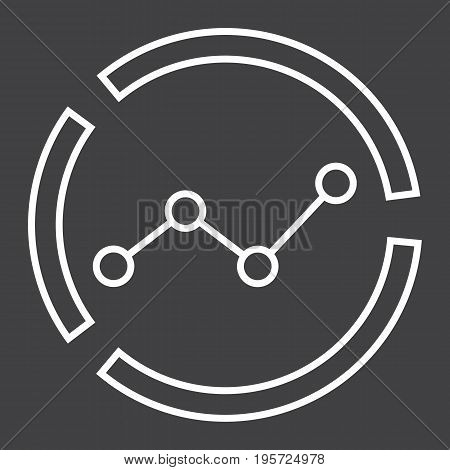 Market analysis line icon, business and diagram, vector graphics, a linear pattern on a black background, eps 10.