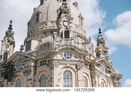 Germany, Saxony, Dresden, Nuemarkt Dresdner Frauenkirche church of Our Lady